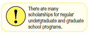 There are many scholarships for regular undergraduate and graduate school programs.